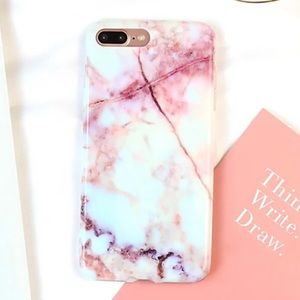 Accessories - Red + white chic marble iPhone 7+ Case